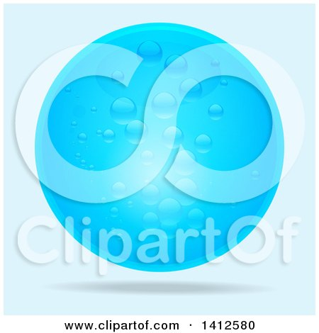 Clipart of a 3d Blue Water Bubble Floating on a Gradient Background - Royalty Free Vector Illustration by elaineitalia