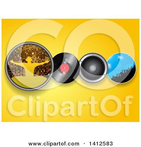 Clipart of a Silhouetted Male Dj, Vinyl Record, Music Speaker and Crowd in a Circle over Yellow - Royalty Free Vector Illustration by elaineitalia