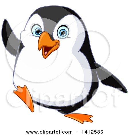 Clipart of a Cartoon Happy Penguin Waving - Royalty Free Vector Illustration by yayayoyo