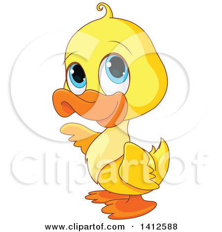 Clipart Of A Cute Yellow Baby Duckling With Big Blue Eyes Royalty Free Vector Illustration