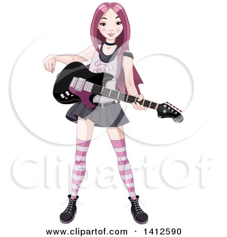 Pink Haired Punk Rocker Asian Girl With An Electric Guitar By Pushkin
