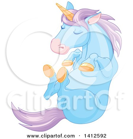 Clipart of a Cute Blue and Purple Unicorn Sleeping - Royalty Free Vector Illustration by Pushkin