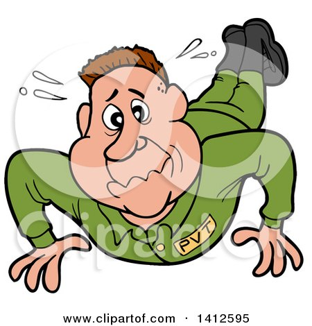 Clipart of a Cartoon White Male Soldier Sweating and Doing Pushups - Royalty Free Vector Illustration by LaffToon