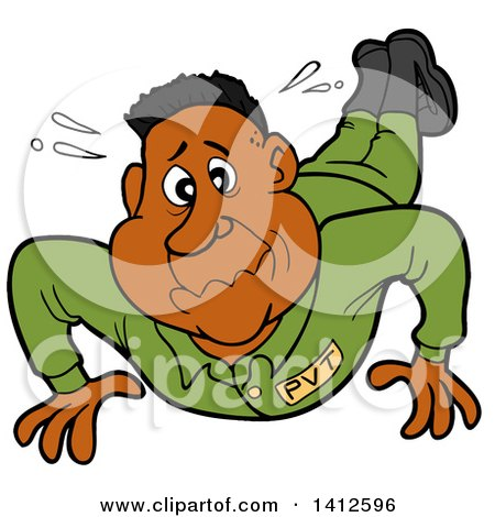 Clipart of a Cartoon Black Male Soldier Sweating and Doing Pushups - Royalty Free Vector Illustration by LaffToon