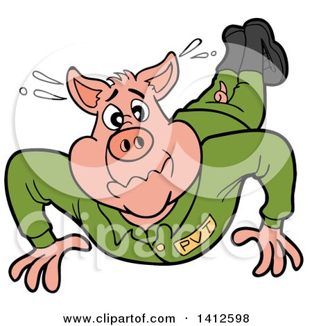 Clipart of a Cartoon Pig Soldier Doing Pushups - Royalty Free Vector Illustration by LaffToon