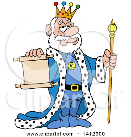 Clipart of a Cartoon Caucasian King Holding a Staff and a Scroll Notice - Royalty Free Vector Illustration by LaffToon