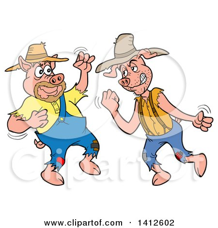 Clipart of Cartoon Hillbilly Pigs Fighting - Royalty Free Vector Illustration by LaffToon