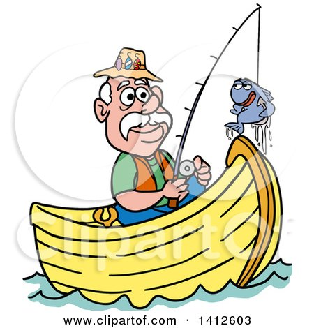clipart of a cartoon caucasian man fishing in a boat and talking rh clipartof com old man fishing clipart man fishing clip art free