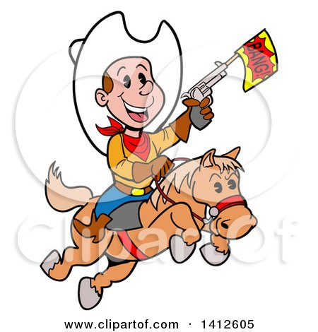 Clipart of a Cartoon Little Cowboy Shooting a Toy Gun and Riding a Horse - Royalty Free Vector Illustration by LaffToon