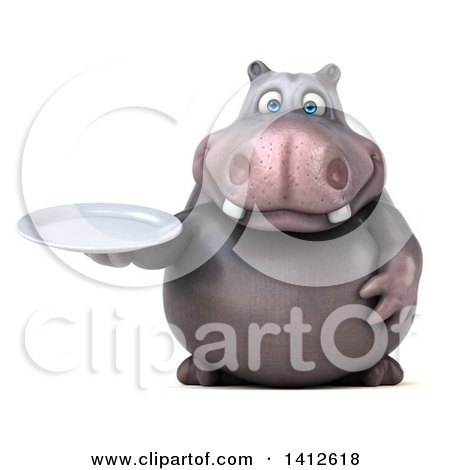Clipart of a 3d Henry Hippo Character, on a White Background - Royalty Free Illustration by Julos