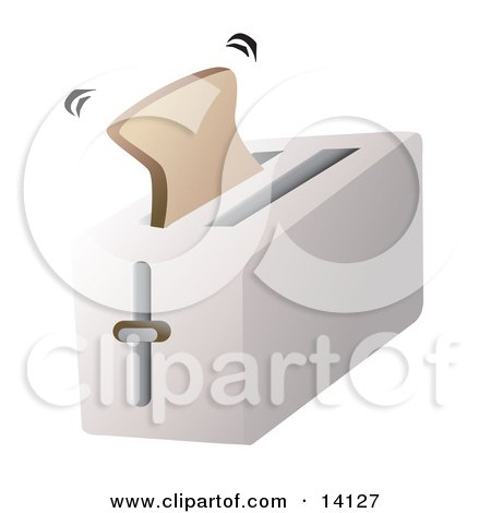 Slice of Bread Toast Popping Out of a Toaster Food Clipart Illustration by Rasmussen Images