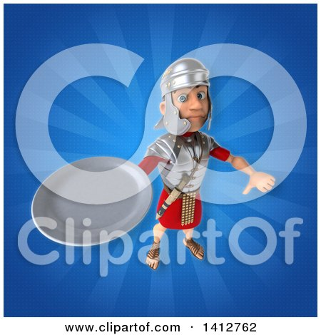 Clipart of a 3d Young Male Roman Legionary Soldier - Royalty Free Illustration by Julos