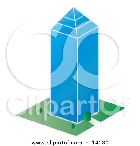 Glass Skycraper Building in a City Clipart Illustration by Rasmussen Images
