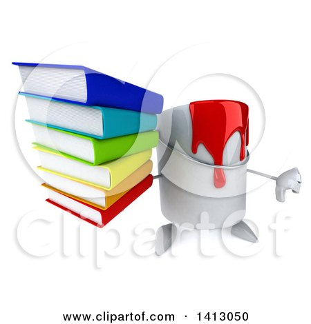 3d Can of Red Paint Character, on a White Background Posters, Art Prints