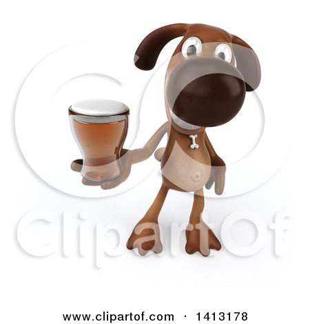 Clipart of a 3d Brown Dog, on a White Background - Royalty Free Illustration by Julos