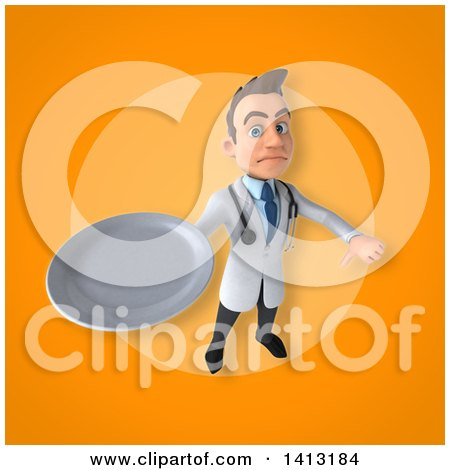 Clipart of a 3d Young White Male Doctor - Royalty Free Illustration by Julos