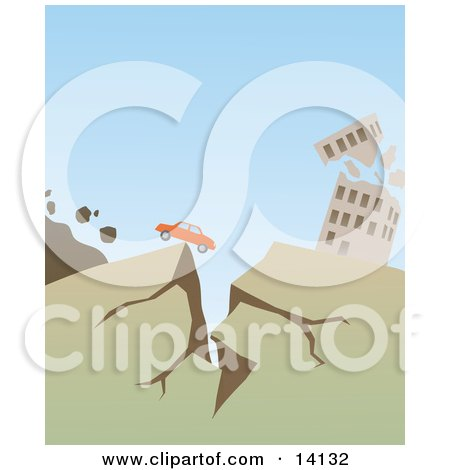 Car Stopped at the Edge of a Crack Near a Collapsing Building During a Big Earthquake Natural Hazard Posters, Art Prints