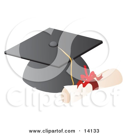 Graduation Cap And High School Diploma Clipart Illustration by Rasmussen Images