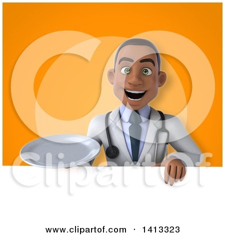 Clipart of a 3d Young Black Male Doctor - Royalty Free Illustration by Julos