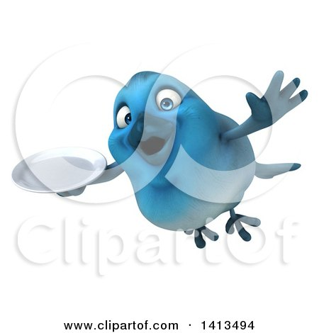 Clipart of a 3d Blue Bird, on a White Background - Royalty Free Illustration by Julos
