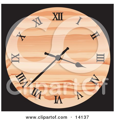 Patterned Orange Wall Clock Showing 3:37 Clipart Illustration by Rasmussen Images