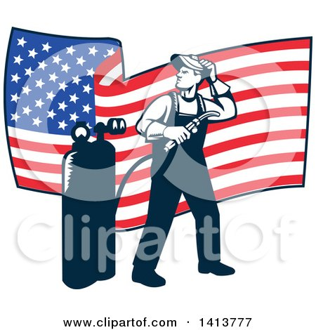 Clipart of a Retro Full Length Male Welder Looking Back over His Shoulder in Front of a Wavy American Flag - Royalty Free Vector Illustration by patrimonio