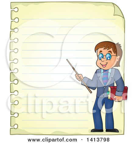 Clipart of a Sheed of Ruled School Paper with a Male Teacher - Royalty Free Vector Illustration by visekart