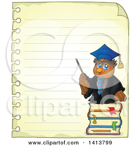 Clipart of a Sheed of Ruled School Paper with an Owl Teacher - Royalty Free Vector Illustration by visekart