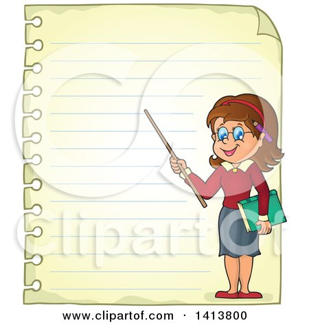 Clipart of a Sheed of Ruled School Paper with a Female Teacher - Royalty Free Vector Illustration by visekart