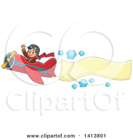 Clipart of a Happy Caucasian Male Aviator Waving and Flying a Plane with a Banner - Royalty Free Vector Illustration by visekart