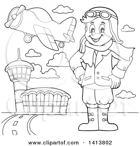 Clipart of a Cartoon Black and White Lineart Male Aviator Standing with His Hands on His Hips at an Airport - Royalty Free Vector Illustration by visekart