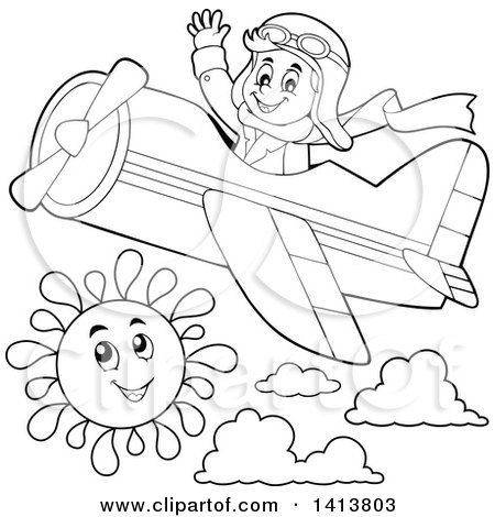 Clipart of a Black and White Lineart Male Aviator Waving and Flying a Plane - Royalty Free Vector Illustration by visekart