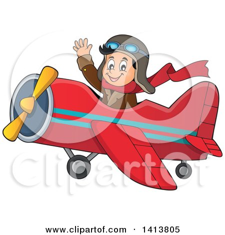 Clipart of a Happy Caucasian Male Aviator Waving and Flying a Plane - Royalty Free Vector Illustration by visekart