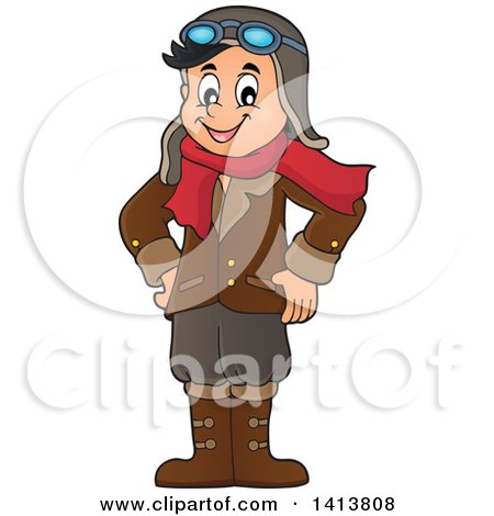 Clipart of a Happy Caucasian Male Aviator Standing with His Hands on His Hips - Royalty Free Vector Illustration by visekart
