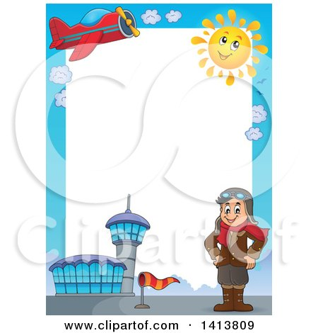 Clipart of a Border of an Airport, Plane, Sun and Caucasian Male Aviator Standing with His Hands on His Hips - Royalty Free Vector Illustration by visekart