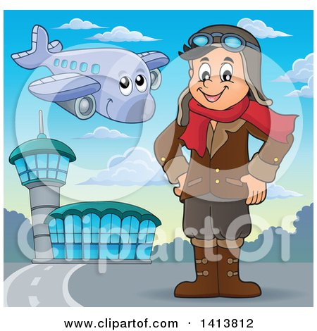 Clipart of a Happy Caucasian Male Aviator Standing with His Hands on His Hips at an Airport - Royalty Free Vector Illustration by visekart