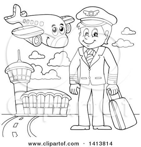 Clipart of a Black and White Lineart Pilot and Airplane at an Airport - Royalty Free Vector Illustration by visekart