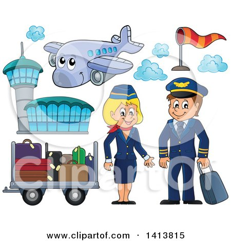 Clipart of a Happy Caucasian Male Pilot and Female Flight Attendant with a Plane, Airport and Luggage - Royalty Free Vector Illustration by visekart