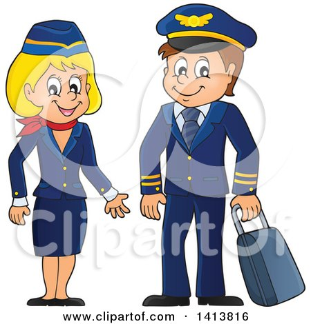 Clipart of a Happy Caucasian Male Pilot and Flight Attendant - Royalty Free Vector Illustration by visekart