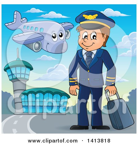 Clipart of a Happy Caucasian Male Pilot at an Airport - Royalty Free Vector Illustration by visekart