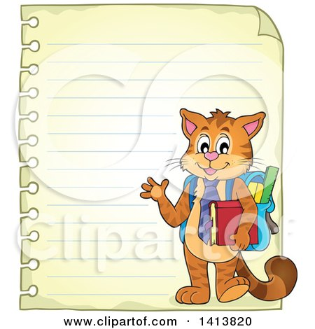 Clipart of a Sheed of Ruled School Paper with a Waving Student Cat - Royalty Free Vector Illustration by visekart