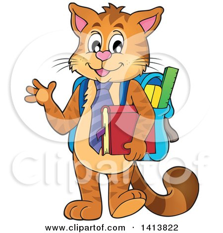 Clipart of a Cat Student Waving - Royalty Free Vector Illustration by visekart