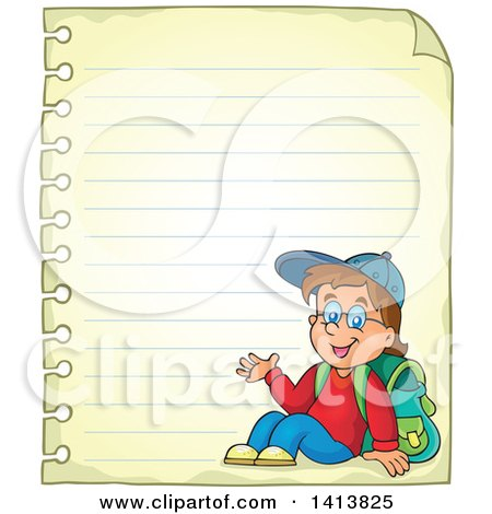 Clipart of a Sheed of Ruled School Paper with a Waving School Boy - Royalty Free Vector Illustration by visekart