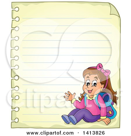 Clipart of a Sheed of Ruled School Paper with a Waving School Girl - Royalty Free Vector Illustration by visekart