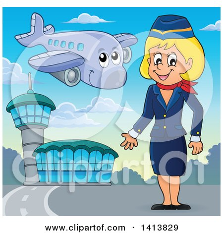 Clipart of a Happy Caucasian Female Flight Attendant at an Airport - Royalty Free Vector Illustration by visekart
