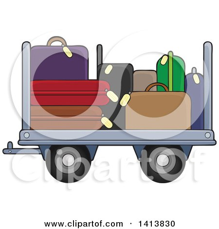 Clipart of an Airport Luggage Cart - Royalty Free Vector Illustration by visekart