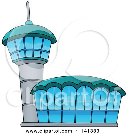 Clipart of an Airport Building - Royalty Free Vector Illustration by visekart