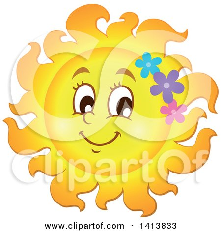 Clipart of a Happy Spring Time Sun Character with Flowers - Royalty Free Vector Illustration by visekart