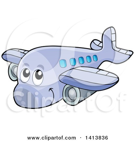 Clipart of a Cartoon Happy Airplane Character - Royalty Free Vector Illustration by visekart