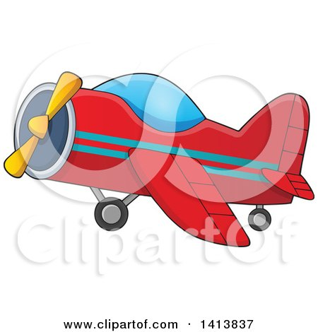 Clipart of a Cartoon Red Airplane - Royalty Free Vector Illustration by visekart